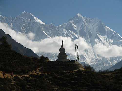 Nepal - Sagamartha Trek - 057 - chorten silhouetted by Lhotse & Everest